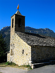 SPAIN CATALUNYA PYRENEES SEP07 - Small church flying the Catalan flag near Abella de la Conca, Pyrenees mountains, Spain...jre/Photo by Jiri Rezac..© Jiri Rezac 2007..Contact: +44 (0) 7050 110 417.Mobile:  +44 (0) 7801 337 683.Office:  +44 (0) 20 8968 9635..Email:   jiri@jirirezac.com.Web:    www.jirirezac.com..© All images Jiri Rezac 2007 - All rights reserved.