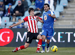 08.01.2012, Stadion Coliseum Alfonso Perez, Getafe, ESP, Primera Division, FC Getafe vs Athletic Bilbao, 18. Spieltag, im Bild Getafe's Daniel Guiza against Athletic de Bilbao's Mikel San Jose // during the football match of spanish 'primera divison' league, 18th round, between FC Getafe and Athletic Bilbao at Coliseum Alfonso Perez stadium, Getafe, Spain on 2012/01/08. EXPA Pictures © 2012, PhotoCredit: EXPA/ Alterphotos/ Alvaro Hernandez..***** ATTENTION - OUT OF ESP and SUI *****