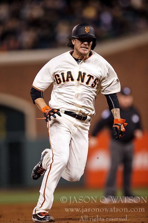SAN FRANCISCO, CA - APRIL 18: Jake Peavy #22 of the San Francisco Giants runs to third base against the Arizona Diamondbacks during the fifth inning at AT&T Park on April 18, 2016 in San Francisco, California. The Arizona Diamondbacks defeated the San Francisco Giants 9-7 in 11 innings.  (Photo by Jason O. Watson/Getty Images) *** Local Caption *** Jake Peavy