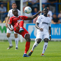Wrexhams midfielder Akil Wright clears the ball during the opening National League match between Dover Athletic and Wrexham FC at Crabble Stadium, Kent on 04 August 2018. Photo by Matt Bristow.