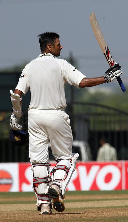 Indian batsman Rahul Dravid celebrates century Against New Zeakand during the 3rd test match India vs New Zealand day-3 Played at Vidarbha Cricket Association Stadium, Jamtha, Nagpur, 22, November 2010 (5-day match)