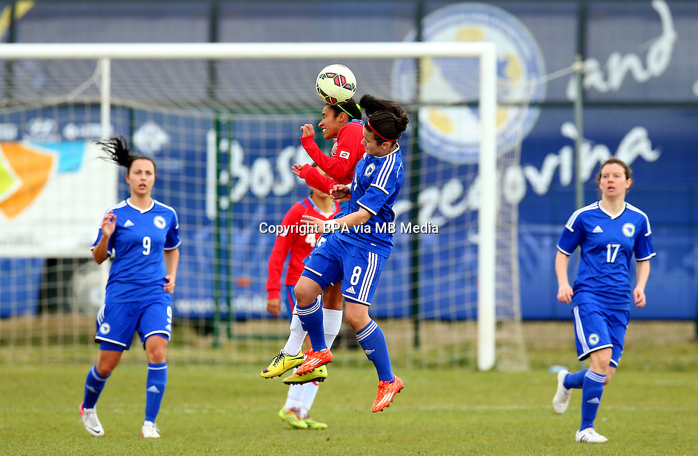 Fifa Womans World Cup Canada 2015 - Preview //<br /> Istria Cup 2015 Tournament ( Stella Maris Stadium , Umag - Croatia ) - <br /> Costarica vs Bosnia &amp; Herzegovina 1-0  , <br /> Cristin Granados of Costarica (Left) , challenges with Marija Aleksic of Bosnia &amp; Herzegovina (Right)