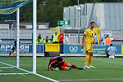 AFC Wimbledon midfielder Scott Wagstaff (7) scoring goal to make it 1-0 during the EFL Cup match between AFC Wimbledon and Milton Keynes Dons at the Cherry Red Records Stadium, Kingston, England on 13 August 2019.