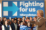 In Atlanta Clinton spoke to an estimated crowd of 400 supporters. She said she would help the middle class, push for clean energy, and fight for equal pay for equal work, an issue that generated the loudest cheers of the morning.