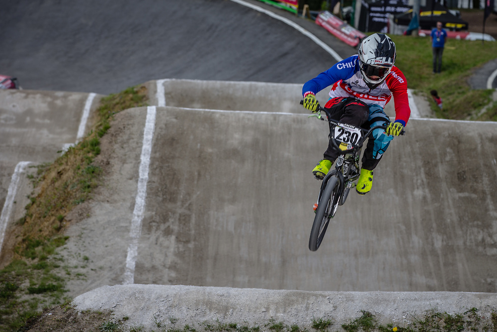#230 (AGUIRRE AMPUEDA Diego Pablo) CHI during round 4 of the 2017 UCI BMX  Supercross World Cup in Zolder, Belgium.