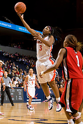 Virginia guard Paulisha Kellum (3) shoots against NC State.  The Virginia Cavaliers defeated the NC State Wolfpack women's basketball team 74-49 at the John Paul Jones Arena in Charlottesville, VA on February 1, 2008.