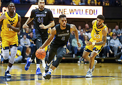 Nov 9, 2018; Morgantown, WV, USA; Buffalo Bulls guard Jayvon Graves (3) drives down the lane during the first half against the West Virginia Mountaineers at WVU Coliseum. Mandatory Credit: Ben Queen-USA TODAY Sports