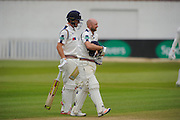 Yorkshire's Gary Ballance  and Yorkshire's Adam Lyth  leave the field for a rain break at The County Ground, Taunton as light rain falls during the Specsavers County Champ Div 1 match between Somerset County Cricket Club and Yorkshire County Cricket Club at the County Ground, Taunton, United Kingdom on 17 May 2016. Photo by Graham Hunt.
