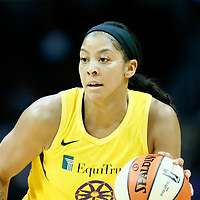 LOS ANGELES, CA - JUN 30: Candace Parker (3) of the Los Angeles Sparks brings the ball up court during a game on June 30, 2019 at the Staples Center, in Los Angeles, California.