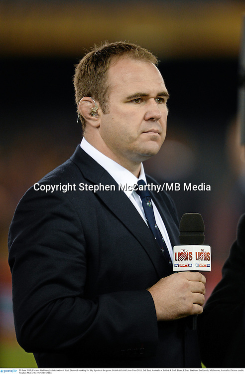29 June 2013; Former Welsh rugby international Scott Quinnell working for Sky Sports at the game. British & Irish Lions Tour 2013, 2nd Test, Australia v British & Irish Lions. Ethiad Stadium, Docklands, Melbourne, Australia. Picture credit: Stephen McCarthy / SPORTSFILE