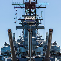 The USS Iowa, former active US Battleship, now stationed in San Pedro, CA as a floating museum.