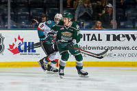KELOWNA, BC - FEBRUARY 15: Gianni Fairbrother #24 of the Everett Silvertips is back checked by Mark Liwiski #9 of the Kelowna Rockets at Prospera Place on February 15, 2019 in Kelowna, Canada. (Photo by Marissa Baecker/Getty Images)