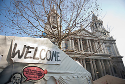 © licensed to London News Pictures. London, UK 11/02/2012. Occupy London St Paul Camp's Library Tent is closed after an arson attack leaves significant damage to the tent at approximately 6.50am this morning. Photo credit: Tolga Akmen/LNP
