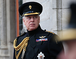 The Duke of York, in his role as colonel of the Grenadier Guards, at a memorial in Bruges to mark the 75th Anniversary of the liberation of the Belgian town.