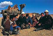 Bactrian camels (Camels bactrians) & nomads<br /> Flaming Cliffs<br /> Gobi Desert<br /> Mongolia