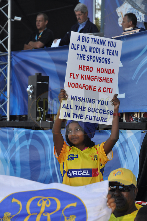DURBAN, SOUTH AFRICA - 20 May 2009.A young spectator showing her support  during the IPL Season 2 match between the Rajasthan Royals and the Kolkata Knight Riders held at Sahara Stadium Kingsmead, Durban, South Africa..
