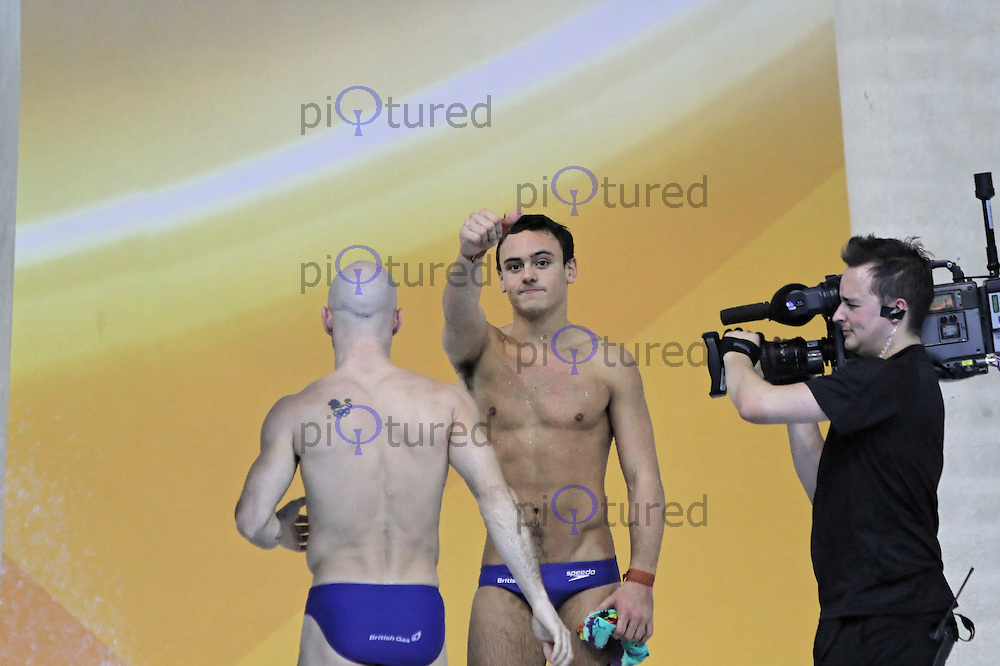 LONDON - FEBRUARY 23: Tom Daley; Peter Waterfield compete in the Men's Synchronised 10m Platform, FINA Visa Diving World Cup, Aquatic Centre, Olympic Park, London, UK on February 23, 2012. (Photo by Richard Goldschmidt)