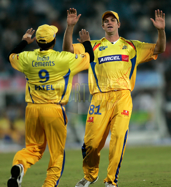 CENTURION, SOUTH AFRICA - 30 April 2009.  during the  IPL Season 2 match between the Rajasthan Royals and the Chennai Superkings held at  in Centurion, South Africa..Chennai Super Kings players Alble Morkel and Parthlv Patel celebrates