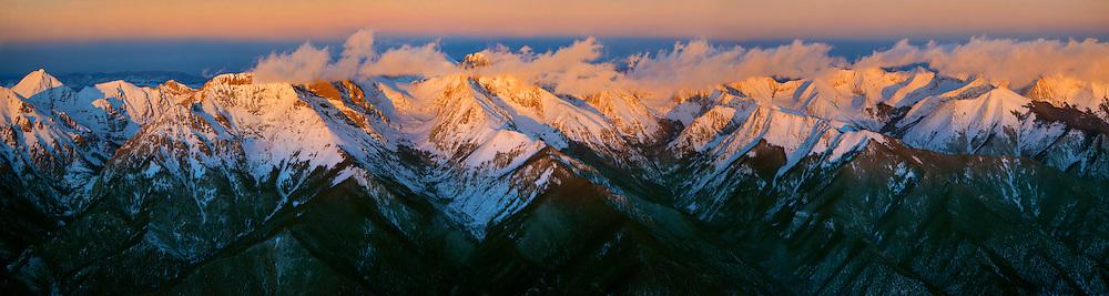 Sangre de Cristo mountain range, panoramic. Colorado. Feb 2014