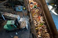 03 JAN 2012, BERLIN/GERMANY:<br /> Sortieranlage fuer Anfall / Wertstoffe aus der Gelben Tonne, Alba Recycling GmbH, Berlin-Mahlsdorf<br /> IMAGE: 20120103-01-018<br /> KEYWORDS: Wertstoffe, Recycling, Alba Group, Urban Mining, Gelber Sack, Gruener Punkt, Grüner Punkt, Duales System, Muell. Müll. Verwertung
