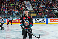 KELOWNA, CANADA - NOVEMBER 1: Conner Bruggen-Cate #20 of the Kelowna Rockets skates to the bench against the Kamloops Blazers on November 1, 2016 at Prospera Place in Kelowna, British Columbia, Canada.  (Photo by Marissa Baecker/Shoot the Breeze)  *** Local Caption ***