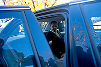 U.S. Senator Barack Obama (D-ILL) gets in his car after speaking with Wisconsin Governor Jim Doyle at a campaign for a get out the vote rally a week before the elections Tuesday Oct. 31, 2006 Milwaukee.  Darren Hauck/New York Times