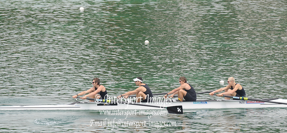 Munich GERMANY,  NZL LM4-, bow and right, James LassCHE, Graham OBERLIN-BROWN, Todd PETHERICK and Richard BEAUMONT, at the 2nd Round FISA World cup on the Olympic Rowing Course Munich, Saturday  20/06/2009, [Mandatory Credit. Peter Spurrier/Intersport Images]