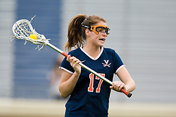 Virginia Cavaliers M Brittany Kalkstein (17) in action against Maryland.  The #3 ranked Virginia Cavaliers defeated the #2 ranked Maryland Terrapins 10-9 in overtime in the finals of the Women's 2008 Atlantic Coast Conference Lacrosse tournament at the University of Virginia's Scott Stadium in Charlottesville, VA on April 27, 2008.