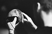 Head shaving, High Wycombe, UK, 1980s.