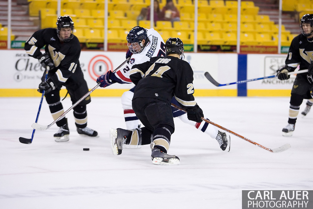 October 13, 2007 - Anchorage, Alaska: Sean Berkstresser (22) of the Robert Morris Colonials takes a shot in the 4-1 victory over the Wayne State Warriors at the Nye Frontier Classic at the Sullivan Arena.