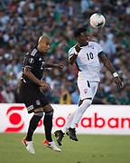 Cuba midfielder Aricheell Hernández (10) heads ball over Mexico defender Luis Rodriguez (21) during a game between Mexico and Cuba in a CONCACAF Gold Cup soccer match in Pasadena, Calif., Saturday, June 15, 2019. Mexico defeated Cuba 7-0. (Ed Ruvalcaba/Image of Sport)