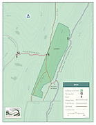 Vector map illustration of the James Property managed by the Simsbury Land Trust, of Simsbury, Connecticut. The maps shows trails and points of interest of the property.