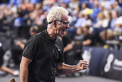 October 4, 2018 - St. Louis, Missouri, U.S - JOHN MCENROE with the fist pump after winning a game during the Invest Series True Champions Classic on Thursday, October 4, 2018, held at The Chaifetz Arena in St. Louis, MO (Photo credit Richard Ulreich / ZUMA Press) (Credit Image: © Richard Ulreich/ZUMA Wire)
