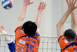 Vid Jakopin and Matej Vidic of ACH at final match of Slovenian National Volleyball Championships between ACH Volley Bled and Salonit Anhovo, on April 24, 2010, in Radovljica, Slovenia. ACH Volley defeated Salonit 3rd time in 3 Rounds and became Slovenian National Champion.  (Photo by Vid Ponikvar / Sportida)