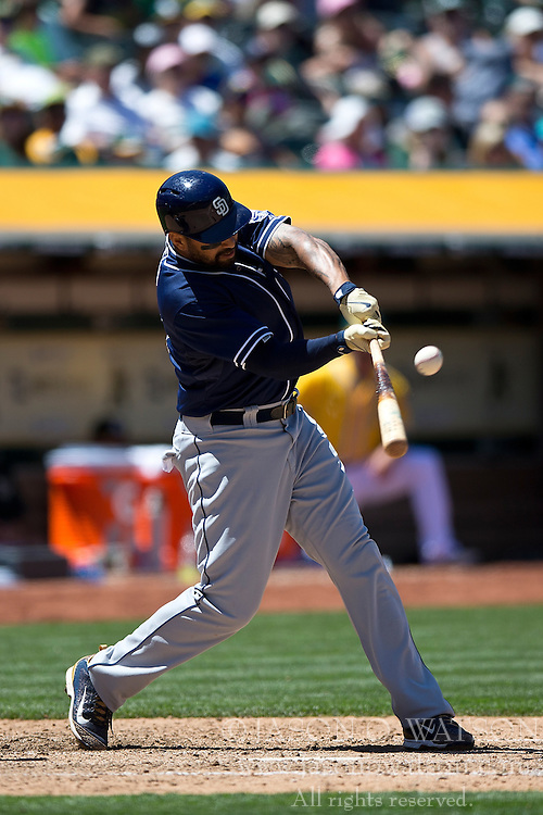 OAKLAND, CA - JUNE 18:  Matt Kemp #27 of the San Diego Padres at bat against the Oakland Athletics during the eighth inning at O.co Coliseum on June 18, 2015 in Oakland, California. The San Diego Padres defeated the Oakland Athletics 3-1. (Photo by Jason O. Watson/Getty Images) *** Local Caption *** Matt Kemp