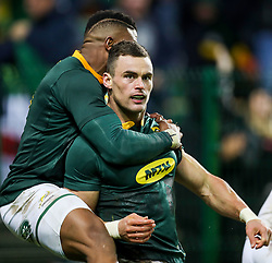 Aphiwe Dyantyi with Jesse Kriel of South Africa after his try- Mandatory by-line: Steve Haag/JMP - 23/06/2018 - RUGBY - DHL Newlands Stadium - Cape Town, South Africa - South Africa v England 3rd Test Match, South Africa Tour