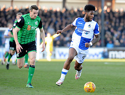 Ellis Harrison of Bristol Rovers is challenged by Murray Wallace of Scunthorpe United - Mandatory by-line: Neil Brookman/JMP - 24/02/2018 - FOOTBALL - Memorial Stadium - Bristol, England - Bristol Rovers v Scunthorpe United - Sky Bet League One