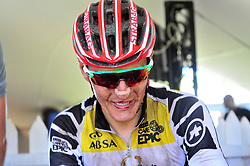 WELLINGTON SOUTH AFRICA - MARCH 22: Jaroslav Kulhavy at the finish of stage three's 111km from Wellington to Worcester on March 22, 2018 in Western Cape, South Africa. Mountain bikers gather from around the world to compete in the 2018 ABSA Cape Epic, racing 8 days and 658km across the Western Cape with an accumulated 13 530m of climbing ascent, often referred to as the 'untamed race' the Cape Epic is said to be the toughest mountain bike event in the world. (Photo by Dino Lloyd)