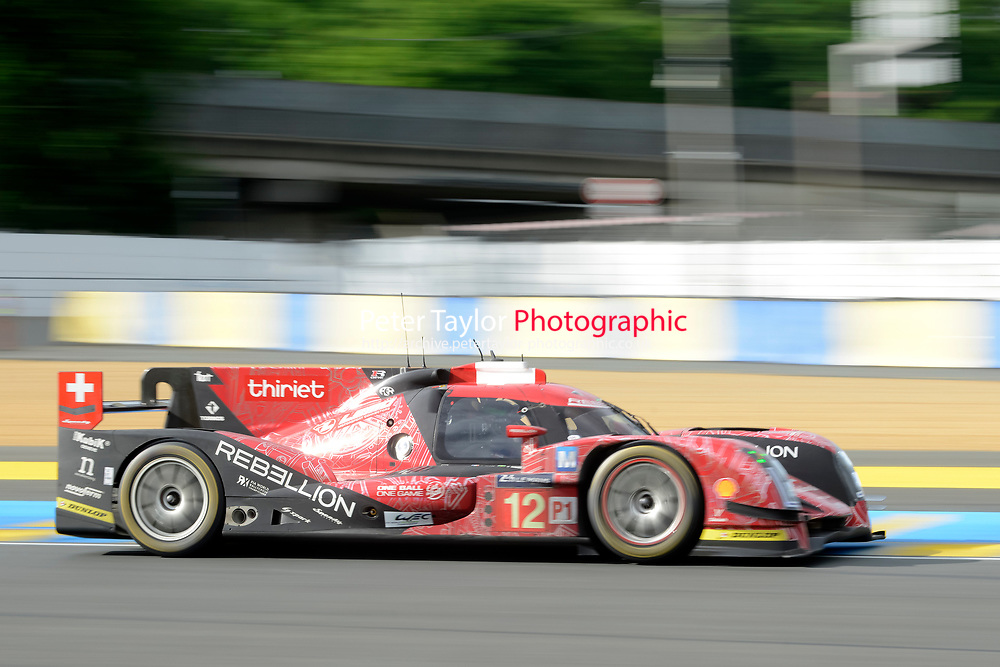 Nicolas Prost (FRA) / Nelson Piquet Jr (BRA) / Nick Heidfeld (DEU) #12 Rebellion Racing Rebellion R-One AER,  during first practice for the Le Mans 24 Hr June 2016 at Circuit de la Sarthe, Le Mans, Pays de la Loire, France. June 15 2016. World Copyright Peter Taylor/PSP.