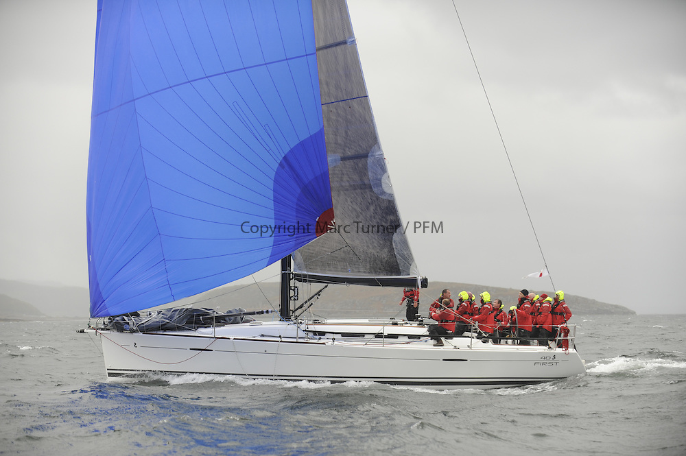 The Clyde Cruising Club's Scottish Series held on Loch Fyne by Tarbert. <br /> Day 4 Racing with a wet Southerly to start clearing up for the last race.<br /> <br /> GBR8140C ,Zephyr ,Steven Cowie ,CCC/FYC/RGYC ,First 40