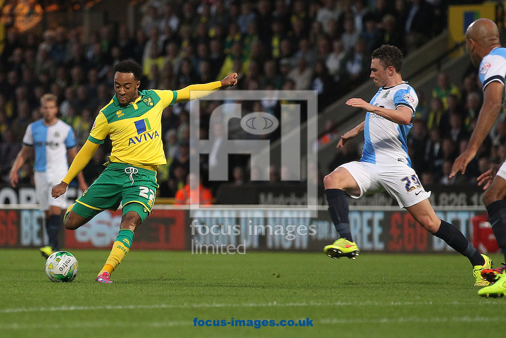 Nathan Redmond of Norwich has a shot on goal during the Sky Bet Championship match at Carrow Road, Norwich<br /> Picture by Paul Chesterton/Focus Images Ltd +44 7904 640267<br /> 19/08/2014