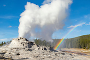Castle Geyser erupting with a rainbow in the steam