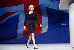 © Licensed to London News Pictures. 06/10/2015. Manchester, UK. Home secretary THERESA MAY speaking at Conservative Party Conference at Manchester Central in Manchester on Tuesday, 6 October 2015. Photo credit: Tolga Akmen/LNP