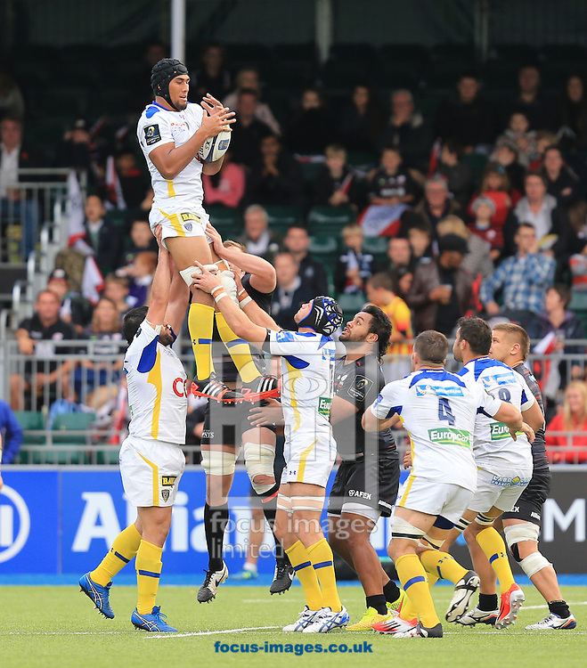 Sebastien Vahaamahina of Clermont Auvergne with ball in hand during the European Rugby Champions Cup match at Allianz Park, London<br /> Picture by Michael Whitefoot/Focus Images Ltd 07969 898192<br /> 18/10/2014