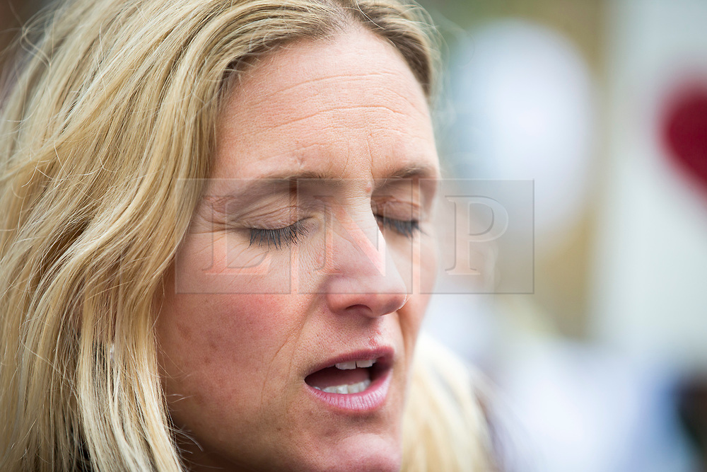 © Licensed to London News Pictures. 16/06/2017. Birstall, UK. Jo Cox's sister Kim Leadbeater speaking at the Big get together in Birstal market where Jo Cox was killed last year. Today marks the one year anniversary of the death of Labour MP for Batley & Spen Jo Cox. Jo Cox died after being shot & stabbed by Thomas Mair outside Birstall library where she had been due to hold a constituency surgery. Photo credit: London News Pictures