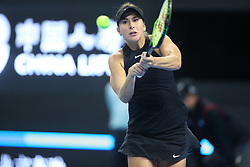 BEIJING , Oct. 1, 2018  Belinda Bencic of Switzerland hits a return during the women's singles first round match against Caroline Wozniacki of Denmark at China Open tennis tournament in Beijing, China, Oct. 1, 2018. (Credit Image: © Song Yanhua/Xinhua via ZUMA Wire)