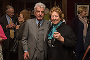 NICKY HASLAM; LADY CAZALET, David Campbell Publisher of Everyman's Library and Champagen Bollinger celebrate the completion of the Everyman Wodehouse in 99 volumes and the 2015 Bollinger Everyman Wodehouse prize shortlist. The Archive Room, The Goring Hotel. London. 20 April 2015.