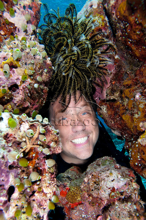 Diver wearing a Featherstar as a wig, Vaavu Atoll, The Maldives
