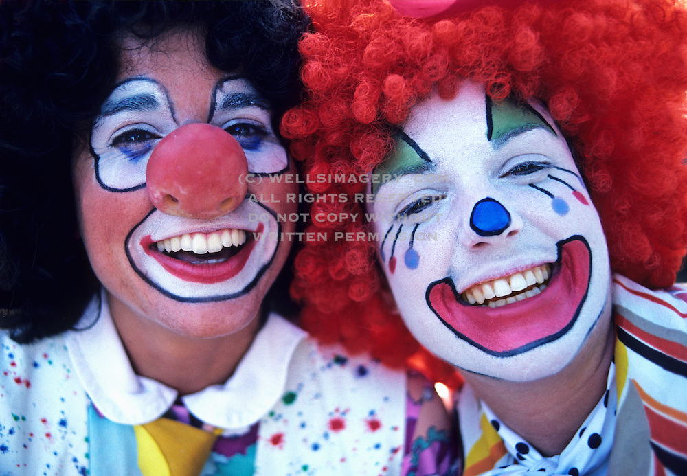 Image of happy clowns at Bumbershoot Festival in Seattle, Washington, Pacific Northwest, model released