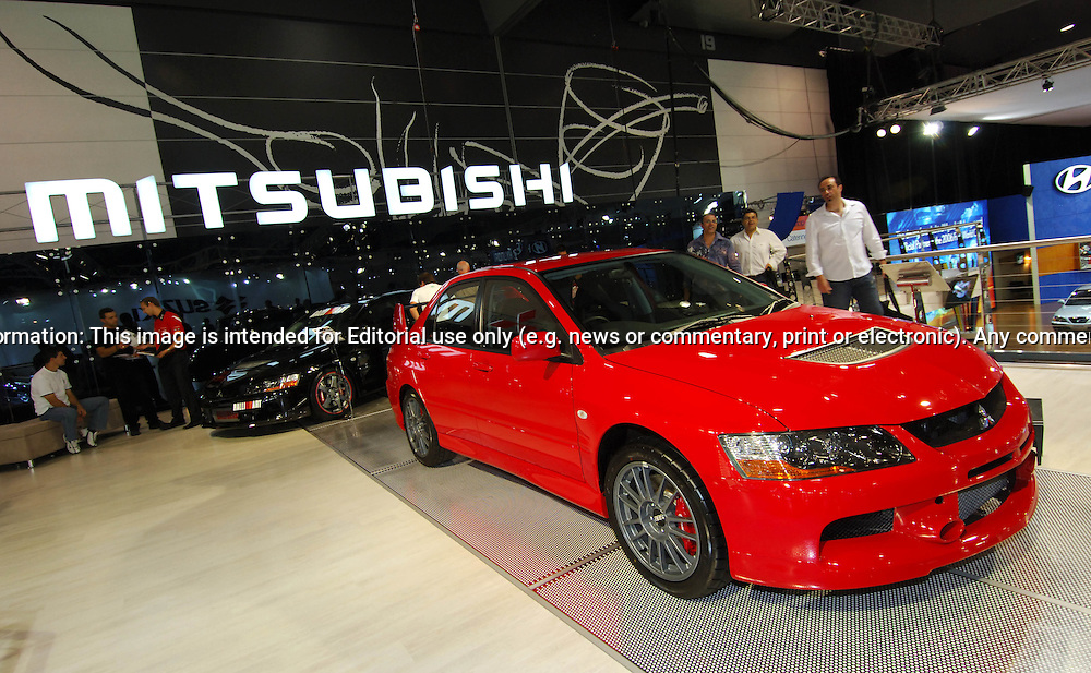 Mitsubishi Lancer Evolution 9 (IX) .Melbourne International Motorshow, .Melbourne Exhibition Centre. Clarendon St, Southbank, Melbourne .14th February 2006.(C) Joel Strickland Photographics.Use information: This image is intended for Editorial use only (e.g. news or commentary, print or electronic). Any commercial or promotional use requires additional clearance.